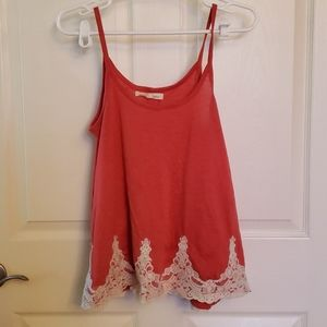 Coral lace tank top